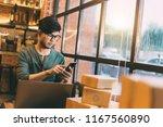 online shopping young start... | Shutterstock . vector #1167560890