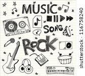 hand drawn musical icons.... | Shutterstock .eps vector #116758240