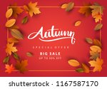 autumn sale background  hand... | Shutterstock .eps vector #1167587170