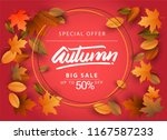 autumn sale background  hand... | Shutterstock .eps vector #1167587233