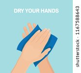 drying hand with towel. wipe... | Shutterstock .eps vector #1167588643