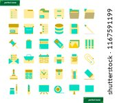 office supply  flat icons set...