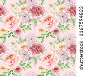 watercolor and ink floral... | Shutterstock . vector #1167594823