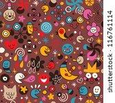 fun cartoon pattern - stock photo