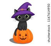 Stock vector cute black cat in a witch hat sitting on a halloween pumpkin 1167614950