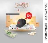shopping online on website or... | Shutterstock .eps vector #1167625723