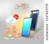 shopping online on website or...   Shutterstock .eps vector #1167625729