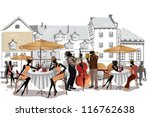 series of street cafes in the... | Shutterstock .eps vector #116762638