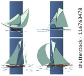 simple vector set of ships with ... | Shutterstock .eps vector #116763478