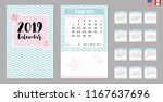 2019 calendar with moon phases. ... | Shutterstock .eps vector #1167637696