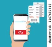 mobile payment concept. hand... | Shutterstock .eps vector #1167651616