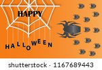 happy halloween card with... | Shutterstock .eps vector #1167689443