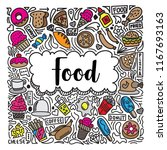 colorful food doodle... | Shutterstock .eps vector #1167693163