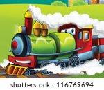 the cartoon locomotive   happy... | Shutterstock . vector #116769694