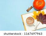 opened notebook  orange pumpkin ... | Shutterstock . vector #1167697963