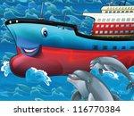 Happy tanker - illustration for the children - stock photo
