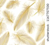 seamless pattern with feathers. ... | Shutterstock .eps vector #1167707530