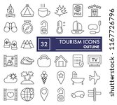 tourism thin line icon set ... | Shutterstock .eps vector #1167726796