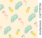 cute pink flamingo  tropical... | Shutterstock .eps vector #1167735736