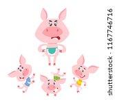 cute cartoon little pigs...   Shutterstock .eps vector #1167746716