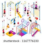 isometric children home sport... | Shutterstock .eps vector #1167776233