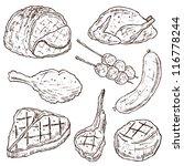 meat doodle vector set | Shutterstock .eps vector #116778244