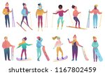 group of cute cartoon skiers... | Shutterstock .eps vector #1167802459