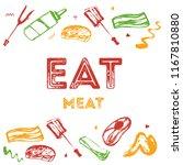 bbq grunge doodle poster... | Shutterstock .eps vector #1167810880