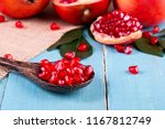 ripe pomegranate fruits on the... | Shutterstock . vector #1167812749