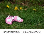 genuine pink leather baby shoes ... | Shutterstock . vector #1167822970