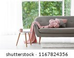 pillows and plaid on sofa in... | Shutterstock . vector #1167824356