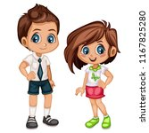 cute cartoon boy and girl in... | Shutterstock .eps vector #1167825280