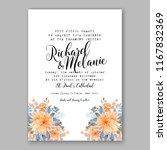 peach peony wedding invitation...   Shutterstock .eps vector #1167832369