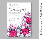 marsala red rose christmas... | Shutterstock .eps vector #1167832456