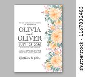 peach peony wedding invitation... | Shutterstock .eps vector #1167832483
