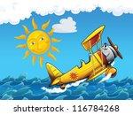 Cartoon biplane - illustration for the children - stock photo