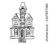 ghost house black line | Shutterstock .eps vector #1167857380