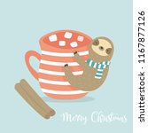 sloth with cup of cacao and... | Shutterstock .eps vector #1167877126