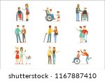 disabled people and friends... | Shutterstock .eps vector #1167887410