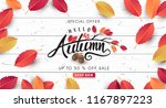 autumn sale background layout... | Shutterstock .eps vector #1167897223
