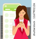 modern girl talking on messenger   Shutterstock .eps vector #1167901126