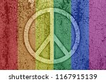 sign of peace in rainbow color... | Shutterstock . vector #1167915139