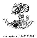 astronaut spaceman with... | Shutterstock .eps vector #1167923209