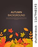autumn background with leaves.... | Shutterstock .eps vector #1167948193