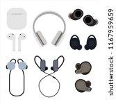 set of wireless headphones flat ... | Shutterstock .eps vector #1167959659