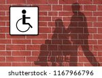 silhouettes wheelchair and man... | Shutterstock . vector #1167966796