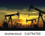 oil pump jack in operation | Shutterstock . vector #116796700