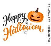 happy halloween hand written... | Shutterstock .eps vector #1167969496