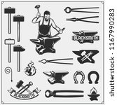 Vintage emblems for forge. Blacksmith labels, badges and design elements. Vector illustration.