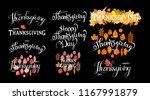 hand drawn happy thanksgiving... | Shutterstock .eps vector #1167991879